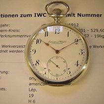 IWC Schöne  vintage Taschenuhr in Silber mit Emailblatt.