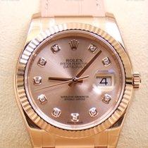 Rolex Datejust, Ref. 116135 - rosa Diamant Zifferblatt/Lederband