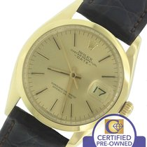 Rolex Date 1500 34mm Solid 14K Yellow Gold Champagne Watch...