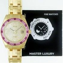 Rolex 81348SARO Pearlmaster Pink Sapphire Bgt Bzl Pave Yellow...