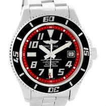 Breitling Superocean 42 Abyss Black Red Dial Steel Mens Watch...