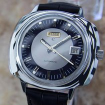 Elgin Swiss Made 42mm Mens 1960s Vintage Large Stainless Steel...