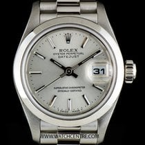 Rolex Platinum Silver Baton Dial Datejust Ladies B&P 79166