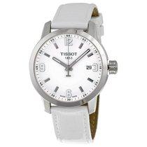 Tissot PRC 200 Quartz Silver Dial White Leather Sport Men'...
