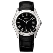 Ebel Classic Gents XL Black Dial Black Alligator Leather...