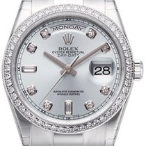 Rolex Day-Date 36 118346-SLVDDP Silver Diamond Bezel Platinum...
