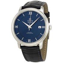 Omega De Ville Prestige Blue Dial Black Leather Mens Watch...