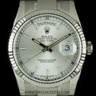 Rolex 18k White Gold O/P Silver Baton Dial Day-Date B&P...