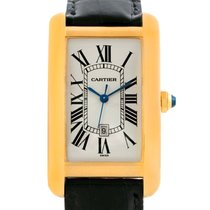 Cartier Tank Americaine 18k Yellow Gold Mens Watch W2603156
