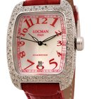 Locman Diamond Tonneau Mother of Pearl Dial Red Leather Strap...