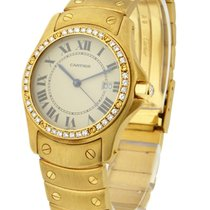 Cartier Santos Round in Yellow Gold with Diamond Bezel