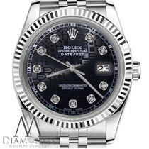 Rolex Mens Rolex 36mm Datejust 18k/ss Jubilee Black Logo Dial...