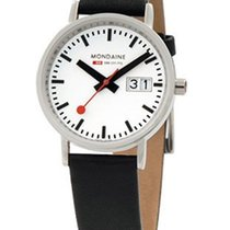 Mondaine 33mm New Classic - White Dial - Black Leather Strap -...