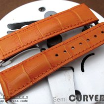 Strapcode Orange CrocoCalf Semi-Curved Lug Watch Band, Poli...