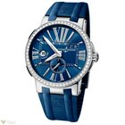 Ulysse Nardin Executive Dual Time Blue Diamonds Bezel Men`s Watch