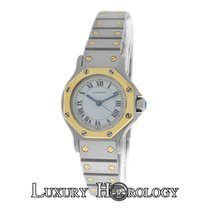 Cartier Mint Ladies Santos Octagon 18K Gold & Stainless Steel