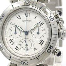 까르띠에 (Cartier) Polished Cartier Pasha 38 Chronograph Steel...