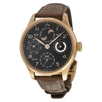 IWC Hemisphere Moonphase 18kt Rose Gold Brown Leather Mens...