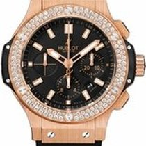 Hublot Big Bang Rose Gold Black Dial Diamond Mens Watch