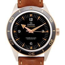 Omega Seamaster 18k Rose Gold And Steel Black Automatic...