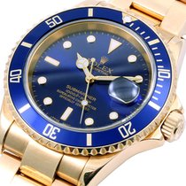 Rolex 18K Gold Submariner Blue Dial - NO Holes Case