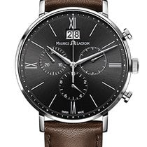 Maurice Lacroix Eliros Chronographe Black Dial, Brown Strap, Date