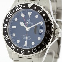 Grovana Swiss Automatic GMT Diver Watch Black Bezel NEW 2Y...