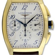 Longines Evidenza Automatic Chronograph 18k Gold Mens Strap...