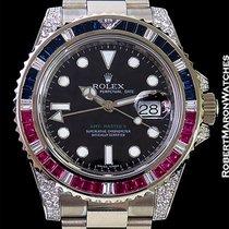 Rolex Gmt II 116759saru 18k White Gold Sapphires Diamonds Box...