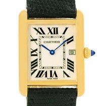 Cartier Tank Louis 18k Yellow Gold Black Strap Quartz Watch...
