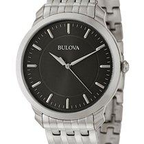 Bulova Classic Stainless Steel Mens Watch Black Dial Quartz...