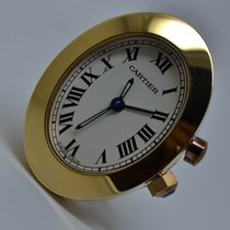 Cartier Table Desktop Alarm Clock Gold Plated with Box