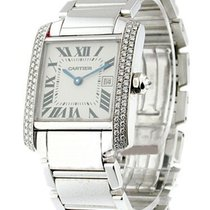 Cartier WE1018S3 Tank Francaise - Mid Size with Diamond Case -...