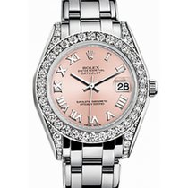 Rolex Pearlmaster 34 81159 Pink Roman Diamond Set White Gold