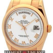 Rolex Day-Date 18k Rose Gold White Roman Dial Circa 2000 Ref....