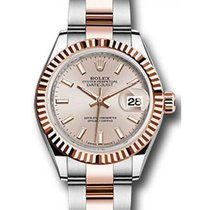 Rolex Datejust 28 279171 Sundust Index Fluted Bezel Rose Gold...
