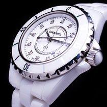Chanel J12 White Ceramic Diamond Dial Date Damenuhr
