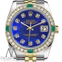 Rolex 31mm Datejust Twotone Bright Blue Treated Pearl W...