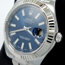 Rolex Datejust II 116334 41mm Blue Dial 18k White Gold Fluted...