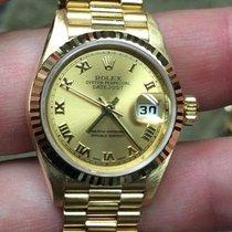 Rolex 18k Gold Ladies President Bracelet 79178 Champagne Roman...