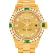 Rolex President Datejust 18k Yellow Gold Diamonds Emeralds...