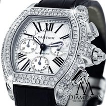 Cartier Diamond Cartier Roadster Xl Chronograph With White...