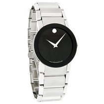 Movado Sapphire Mens Blk Museum Stl Steel Swiss Quartz Watch...