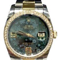 Rolex Datejust 36mm steel yellow gold Green Flower dial Diamond