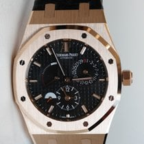 Audemars Piguet ROYAL OAK DUAL TIME 39 in pink gold with black...