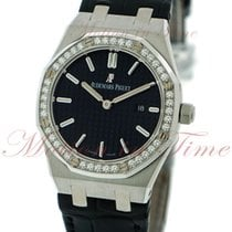 Audemars Piguet Royal Oak Ladies, Black Dial, Diamond Bezel -...
