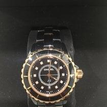 Chanel J12 Ceramic Black Diamond Dial Yellow Gold and Cerami...