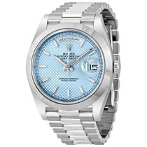 Rolex Day-Date Ice Blue Diagonal Motif Dial Platinum President...