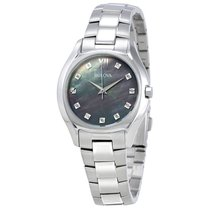 Bulova Diamond Grey Mother Of Pearl Dial Ladies Watch 96P158