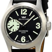 Glycine Incursore Manual Wind Steel Mens Swiss Strap Watch...